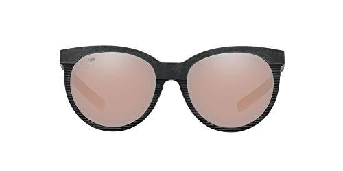 Costa Del Mar Women's Victoria Polarized Rectangular Sunglasses, Net Grey/Blue Rubber/Copper Silver Mirrored Polarized-580G, 56 mm