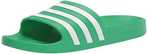 adidas unisex adult Adilette Aqua Slide Sandal, Vivid Green/White/Vivid Green, 11 Women Men US