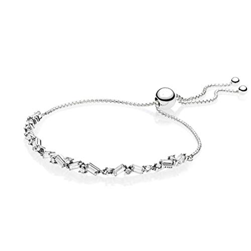 925 Stering Silver Bracelet, Glacial Beauty Sliding Fit Lady Bead Bangle Charm Pendant Girl Authentic 925 Sterling Silver Bracelets for Women Wristband Accessories Festival Couple Gift Friendship