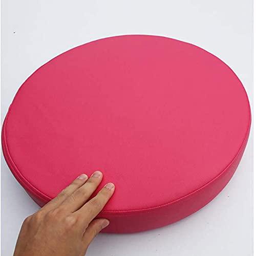 MGE Almohadillas De Silla, Cojín De Asiento De Piel Sintética Gruesa, Silla De Color Sólido Redondo Cojín De Memoria De Memoria De Espuma Tapa Extraíble (Size:50x50x8cm(20x20x3inch),Color:Fucsia)