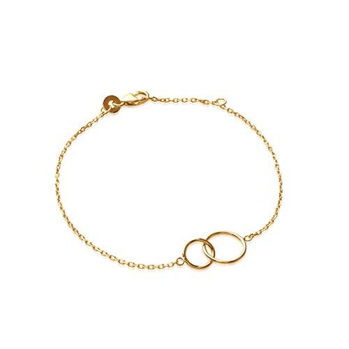 Smeraldo Vergoldetes Damen Armband Doppelkreis | Armkette mit 2 Kreisen | 18kt vergoldet - Länge: 18 cm