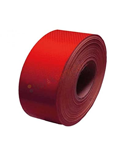 MFK Night Safety Reflective Tape, Safety Adhesive Tape, Signal Tape Reflector Stickers for Vehicles, 10 cm x 46 m, Red