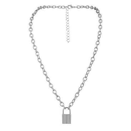 Daman Rock Choker Lock Necklace Layered Chain On The Neck With Lock Punk Key Padlock Pendant Necklace For Women Gift,C2182