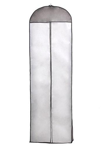TUKA-i-AKUT Atmungsaktiver Kleidersack 180cm, Schutzhülle für Brautkleider/Abendkleider/Anzüge/Mäntel, Langer Reissverschluss - Weiß + Schwarz Rahme - Schwarz, TKB1005 Black