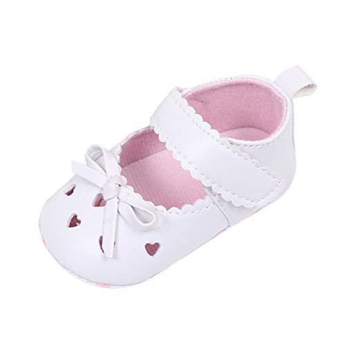Zapatos Bebé Niña 2019 SHOBDW Zapatos De Cuna Zapatillas Antideslizantes De Suela Blanda Zapatos Bowknot De Velcro Verano Zapatos Bebé Recién Nacida Zapatos Bebe Primeros Pasos(Blanco,0~6)
