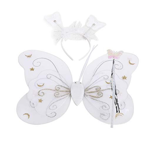 SUPVOX alas de Mariposa para niños con Diadema Varita para Fiesta de cumpleaños Halloween Favor tutú 1 Juego (Blanco)