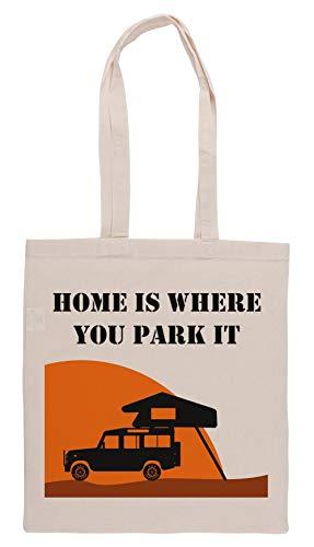 Luxogo Home is - Defender 110 - Roof Tent Einkaufstasche Groceries Beige Shopping Bag