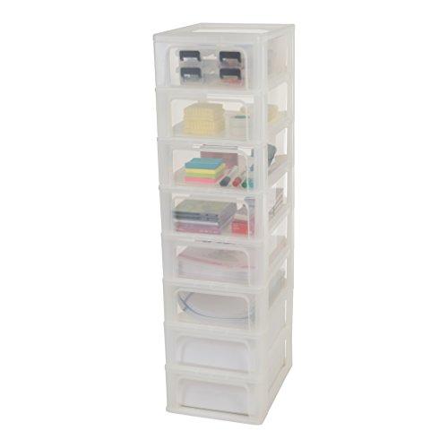 Iris Organizer Chest OCH-2008 Schubladencontainer-/ schrank, Kunststoff, frostweiß / transparent, 35,5 x 26 x 96,5 cm