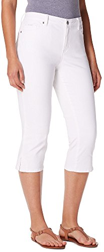 Gloria Vanderbilt Womens Jordyn Embellished Capris 6 Shell white