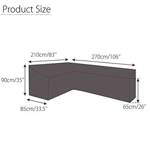 dDanke Housse de protection imperméable pour meubles de jardin en polyester noir en forme de L 210 x 270 cm
