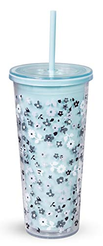 Vera Bradley Blue Floral Acrylic Insulated Travel Tumbler with Reusable Straw, 24 Ounces, Floating Garden Ditsy