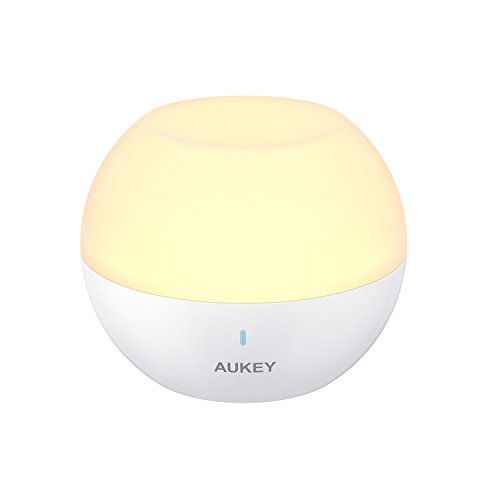AUKEY Baby Night Light for Kids, Rechargeable Bedside Lamp with RGB Color-Changing & Dimmable Bedroom Light, IP65 Water-Resistance Touch Control Table Lamp for Reading, Sleeping, and Relaxing