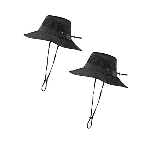 Mantimes Sombrero de boonie transpirable de ala ancha al aire libre impermeable UPF 50+ protección solar malla safari sombrero para viajes pesca (negro)