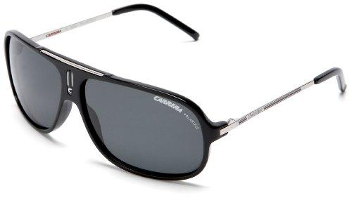 Carrera Cool/S Polarized Pilot Sunglasses, Black and Palladium Frame/Grey Lens, 65 mm