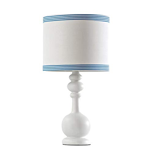 LDDEND Handmade Silk Screen PVC Stoff Blau Gestreiften Lampenschirm Kinder Schlafzimmer Nachttischlampe LED Kreative Einfache Moderne Wohnzimmer Lampe E27 Nach Hause Energiesparende Jugend Lampensocke