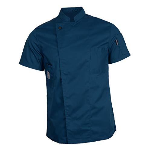 IPOTCH Ristorante Uniforme Chef Giacca Manica Corta Cameriere Cappotto Hotel Cucina Camicia Unisex - Blu, 2XL