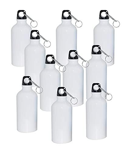 10pcs Blank Coated Sublimation 500ml Aluminium Water Bottle-White Sublimation Transfer (500ml)