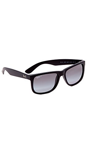 Ray-Ban RB4165 Justin Rectangular Sunglasses, Black Rubber/Polarized Grey Gradient, 55 mm