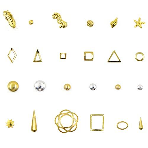 Lentejuelas de uñas 3D Nail Art Stud Nail Lentejuelas de metal dorado / plateado DIY Nail Art Diseños de uñas Accesorios de estrellas...