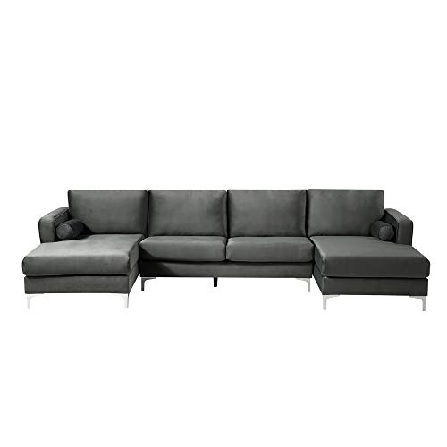 STARTOGOO Modern Upholstered Fabric U-Shape Sectional Sofa with Two Pillows, Double Extra Wide Chaise Lounge Couch, for Living Room, Light Black Velvet, Gray