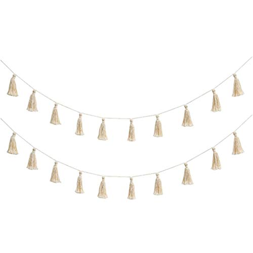 cici store 2Pcs Cotton Tassel Garland Pastel Banner Party Backdrop Decorative Home Wall Hanging Decor