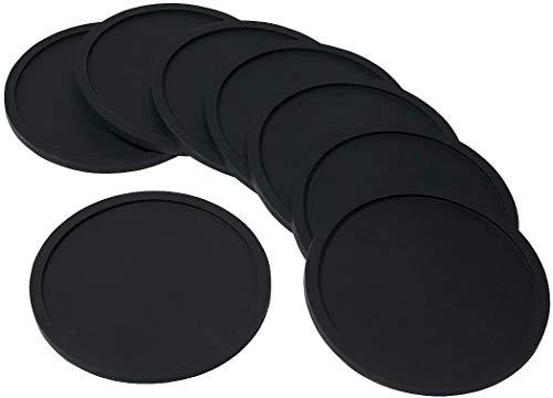 Utro, set da 8 sottobicchieri in silicone, tondi, antiscivolo, morbidi, eleganti e durevoli, facili da pulire Black