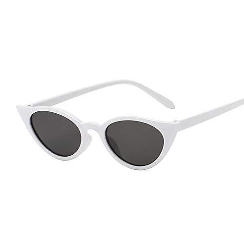 Gafas de sol de ojo de gato, para mujer, verano, color caramelo, vintage, ovalado, Cateye femenino, adecuado para pesca al aire libre, deportes de golf, blanco/gris,