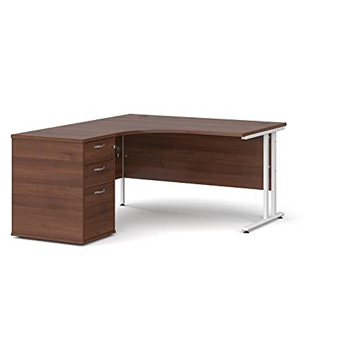Maestro - Juego de 25 escritorios ergonómicos para mano izquierda y 3 cajones con patas voladizas, color nogal, 140 x 120 cm