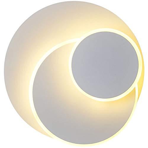 Qucover 15W LED Wandleuchte, Runde Innen Wandlampe in Weiß, 350° Drehbar Wandbeleuchtung, Dekorative Licht für Wohnzimmer Korridor Balkon, Modern Design Warmweiß