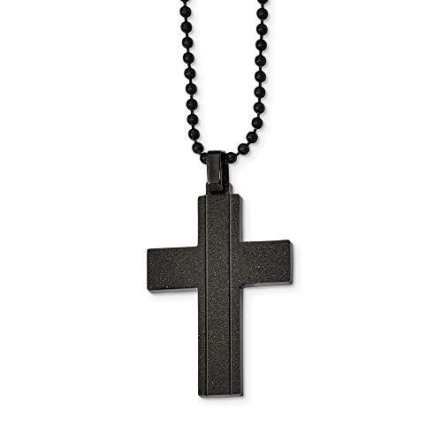 Edelstahl Stahl Gebürstet und Poliert Schwarz IP Schreibtisch-Set für Papierwaren Kreuz Halskette–56cm