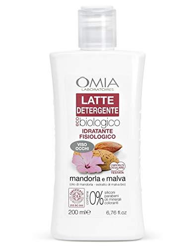 Omia Latte Detergente Viso Eco Bio Mandorla e Malva, Struccante Fisiologico Viso e Occhi, per Pelli Normali, Secche e Sensibili, Effetto Idratante e Nutriente, Dermatologicamente Testato, 200 ml