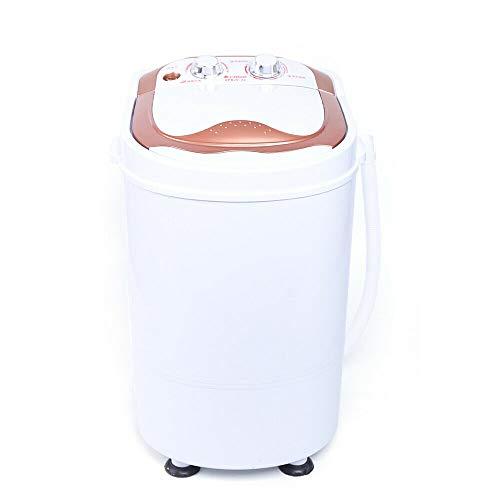 Mini lavadora con centrifugado | Lavadora automática hasta 6 kg | Lavadora de viaje | Minilavadora portátil para camping | Toploader | 1 cámara (dorada)