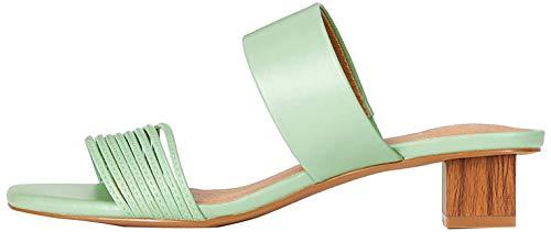 Marca Amazon - Find. Sandalias abiertas para mujer con tacón de rayas, color Verde, talla 38 EU