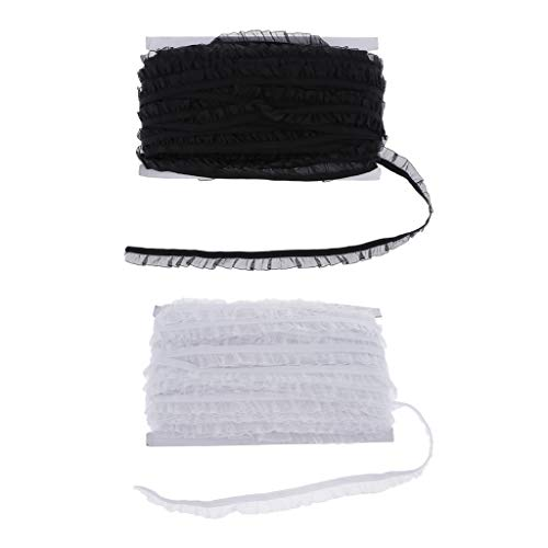 Milageto 2 Piezas de Costura de Encaje Elástico para Lencería Diadema Manualidades DIY Negro Blanco