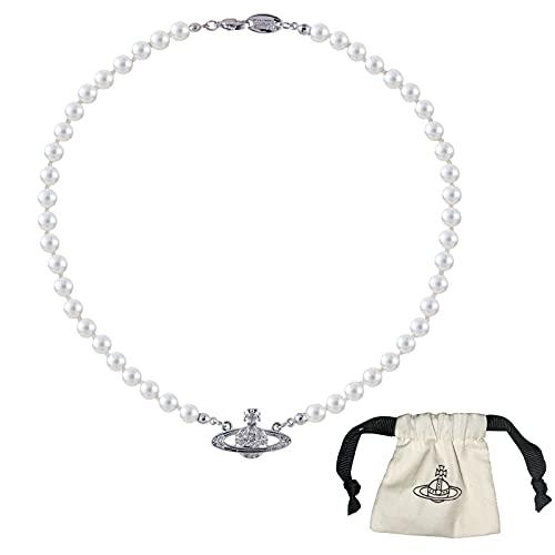 Collares de Perlas de Saturno para Mujer, Planeta Cristal Collar de Diamantes...