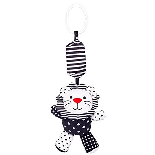 WINBST Juguete de cochecito de bebé, colgante de juguete recién nacido, juguete de peluche con campanas, juguete de cuna blanco y negro, regalo de juguete de bebé