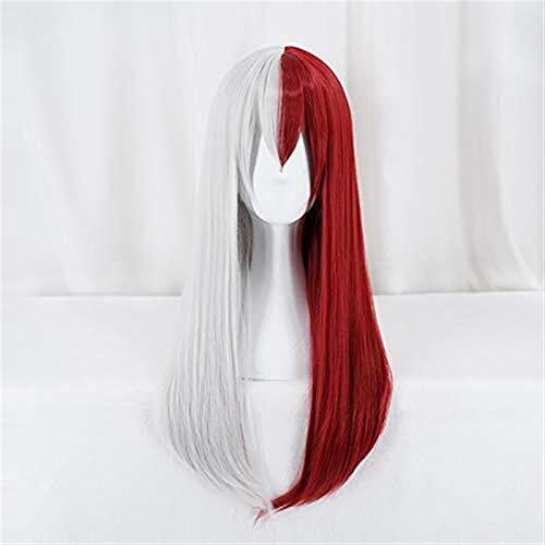 GIAOYAO Mi héroe Academia Todoroki Show Shoe Long Wig Cosplay Girl Ver.Boku No Hero Academia Color de Pelo Rojo y Blanco Peluca de Fiesta de Halloween