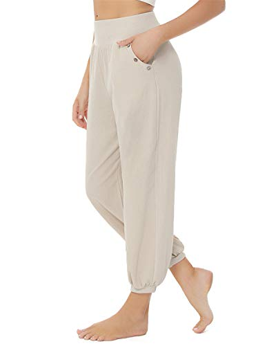 Doaraha Pantalones de Lino para Mujer Harem Pantalones Cintura Elástica Casual Bombacho Pantalones con Bolsillo