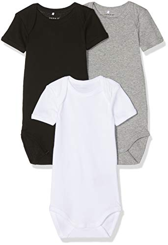 NAME IT Unisex Baby Strampler NBNBODY 3P SS Black NOOS, 3er Pack, Mehrfarbig (Schwarz Black), 92