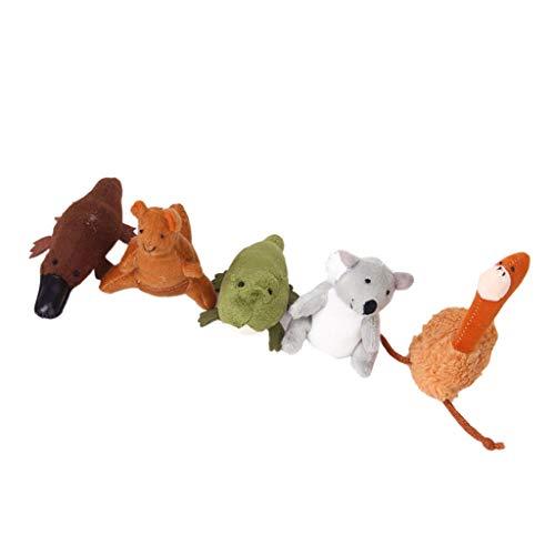 Hellery Juego de 5 Marionetas de Dedo de Australia para Niños, Juguete Clásico de Animales en