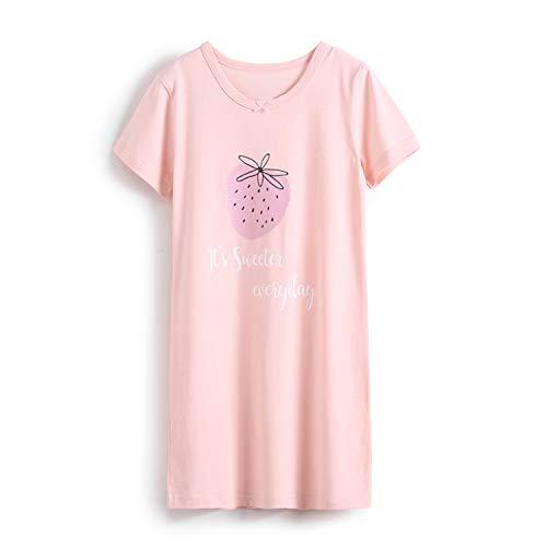 Nachthemd Madchen Muster Frucht Prinzessin Kurzarm Rundkragen Kinder Schlafanzuge Sommer fur 13-16 Jahre Erdbeere Rosa