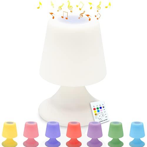 Lampe de Table Enceinte Bluetooth Musique Lampe de Chevet LED Atmosphère Lampe de Table Avec télécommande Lampe de table LED pour l'extérieur IP44 pour Chambre à Coucher, Salle de Bébé et Salon