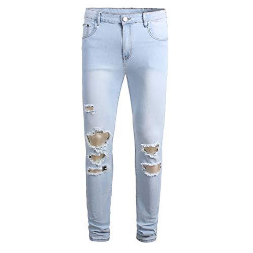 Huntrly Pantalones Vaqueros para Hombre Pantalones Vaqueros elásticos de diseño Informal Simple con Agujeros Rasgados Pantalones de Mezclilla de Moda para Hombre 31W