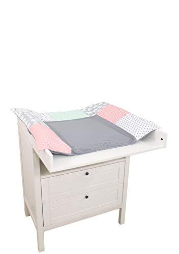 ULLENBOOM ® Wickelauflagenbezug 75x85 cm Elefant Mint Rosa (Made in EU) - Bezug für Wickelauflage, Baby Überzug für Wickelunterlage aus Baumwolle, Wickelbezug für Wickeltisch, Motiv: Sterne, Punkte