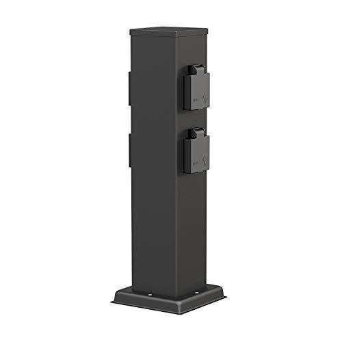 ledscom.de Colonna da giardino Polly con prese nero da esterno, a 4 vie, acciaio inox, angolare, 38cm