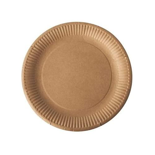 Gastro-Bedarf-Gutheil Bio 50 Pappteller rund Durchmesser 23 cm braun umweltfreundlich kompostierbar vielseitig einsetzbar Einwegteller Partyteller