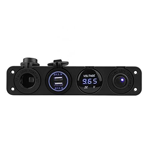XIAOQIN BOMY Ajuste para 4 en 1 Coche de Cigarrillo Encendedor Voltímetro Digital Dual USB Cargador de alimentación 12V Toma de Corriente Resistente al Polvo Impermeable con Interruptor de Rocker