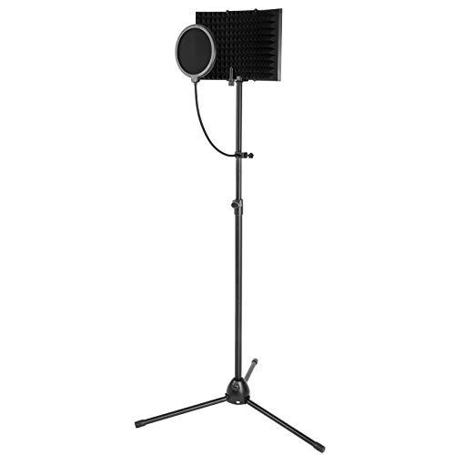 Sistema aislador de micrófono. Kit de grabación de estudio de micrófono AGPtEK con soporte y pantalla antiviento ajustable. Filtro antipop para grabación acústica vocal y podcasting.