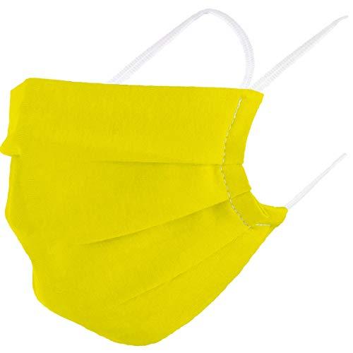 VOID Community Maske Mundbedeckung 100% Baumwolle Öko-Tex Herren Damen Kinder Gesichtsmaske Nase Mund Abdeckung, Farbe:Gelb, Masken Größe:Erwachsene