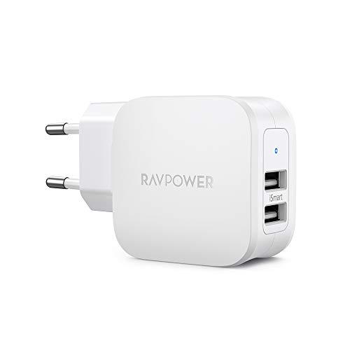 RAVPower Caricabatterie da Parete Doppia Porta USB da 17W iSmart 2.0 Compatibile con iPhone XS Max/XR/X, Galaxy S9/S8, Nintendo Switch e Molti Altri